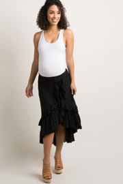 Black Layered Ruffle Trim Maternity Wrap Skirt