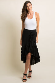 Black Layered Ruffle Trim Wrap Skirt