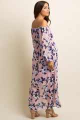 Mauve Floral Chiffon Off Shoulder Maternity Maxi Dress