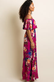 PinkBlush Magenta Floral Ruffle Open Shoulder Maxi Dress