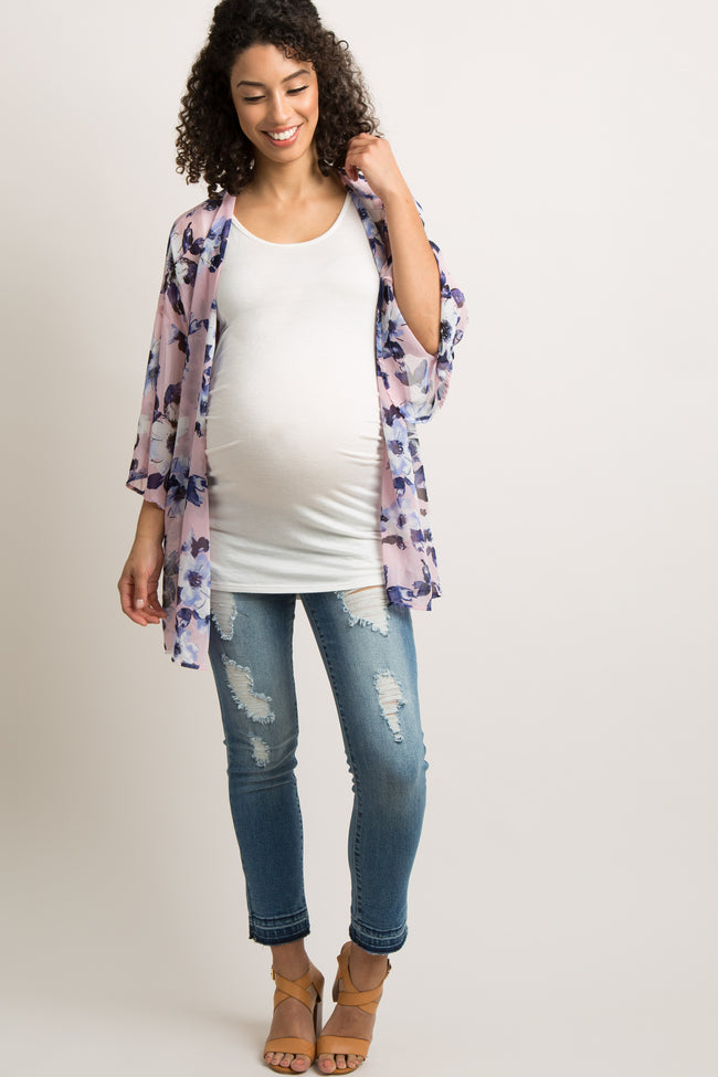 Pink Floral Chiffon Lace-Up Back Maternity Cover Up