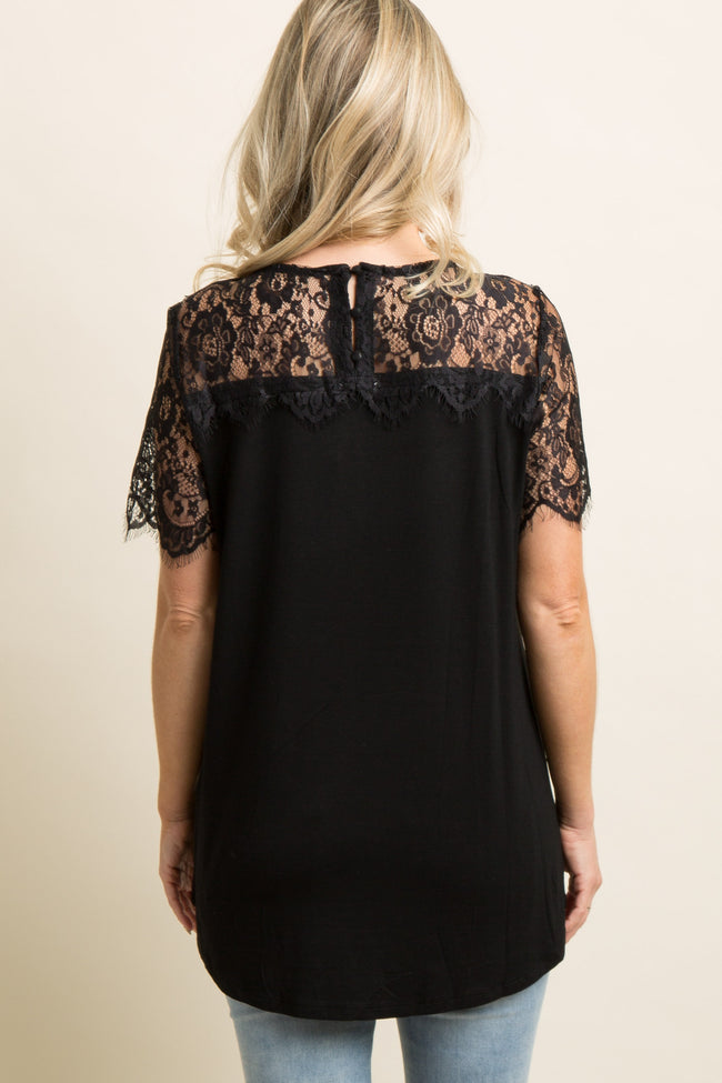 Black Scalloped Lace Accent Maternity Top