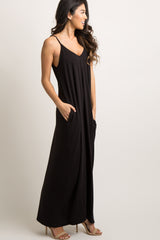 Black Solid Cami Maxi Dress