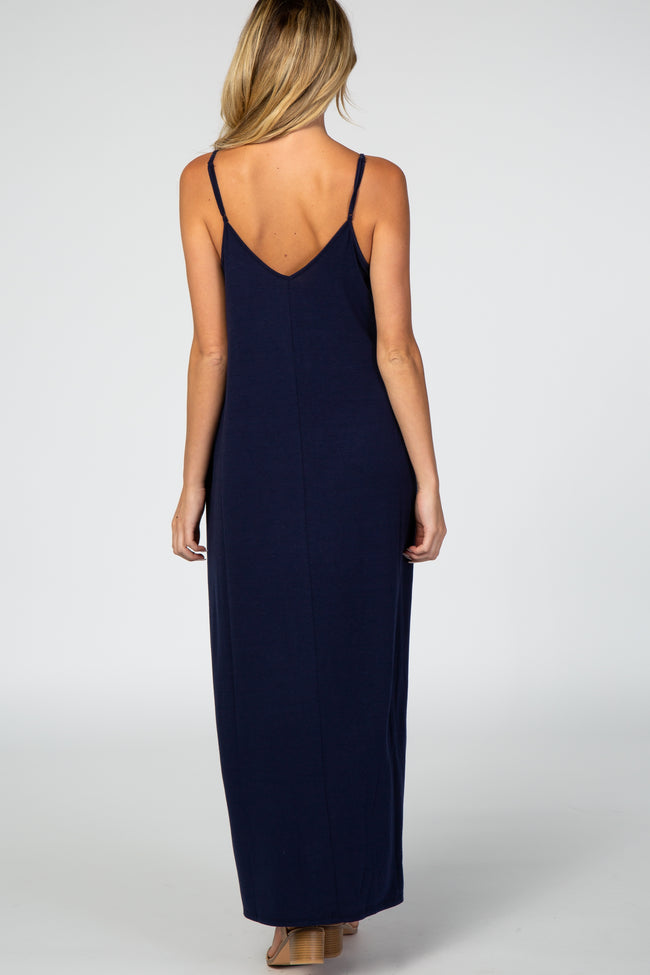 Navy Blue Solid Cami Maternity Maxi Dress