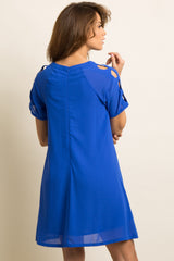Blue Solid Chiffon Cutout Sleeve Shift Dress
