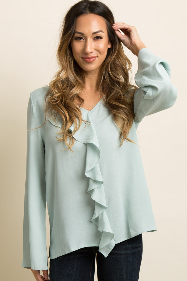Mint Green Solid Ruffle Accent Blouse