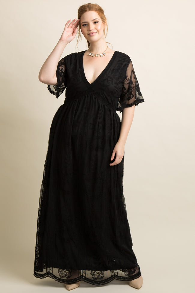 PinkBlush Black Lace Mesh Overlay Maternity Plus Maxi Dress