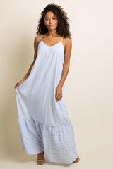 Light Blue Pinstriped Ruffle Trim Maxi Dress