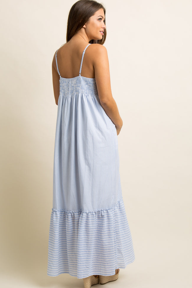 Light Blue Pinstriped Ruffle Trim Maternity Maxi Dress
