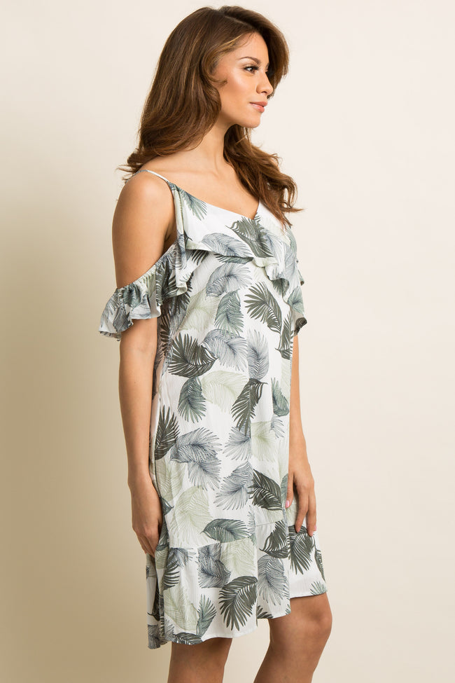 Olive Green Palm Print Ruffle Trim Open Shoulder Dress