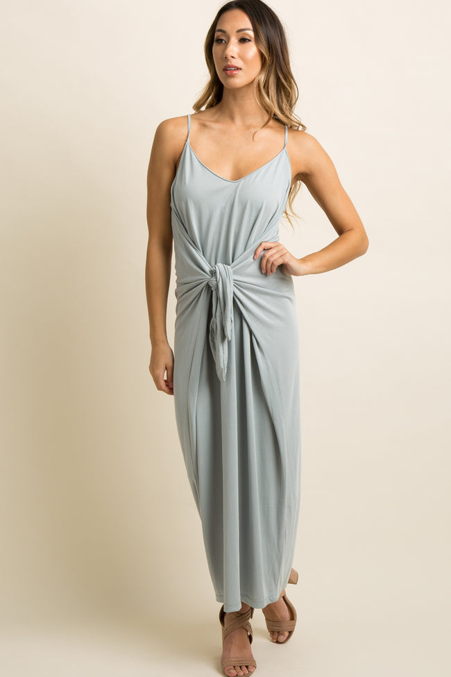 Grey Solid Mock Tie Front Cami Midi Dress