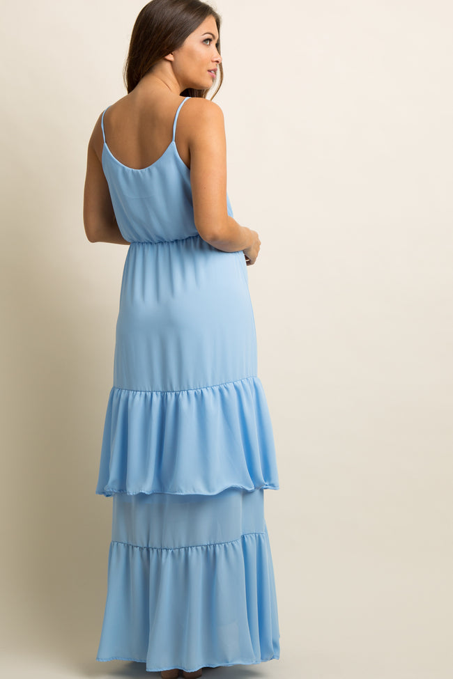 Light Blue Chiffon Tiered Ruffle Trim Maternity Maxi Dress