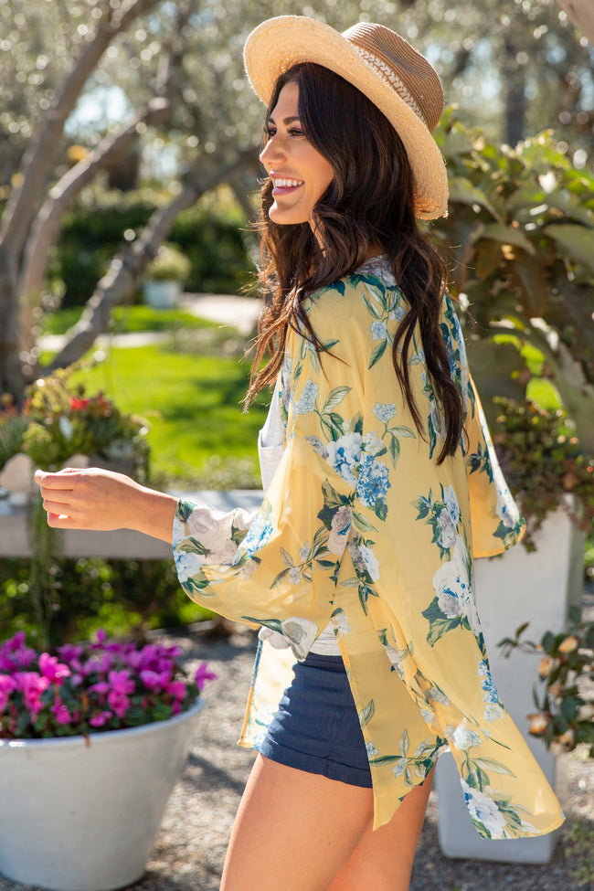 PinkBlush Yellow Floral Chiffon Bell Sleeve Cover Up
