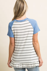 Light Blue Striped Ruffle Trim Colorblock Maternity Top