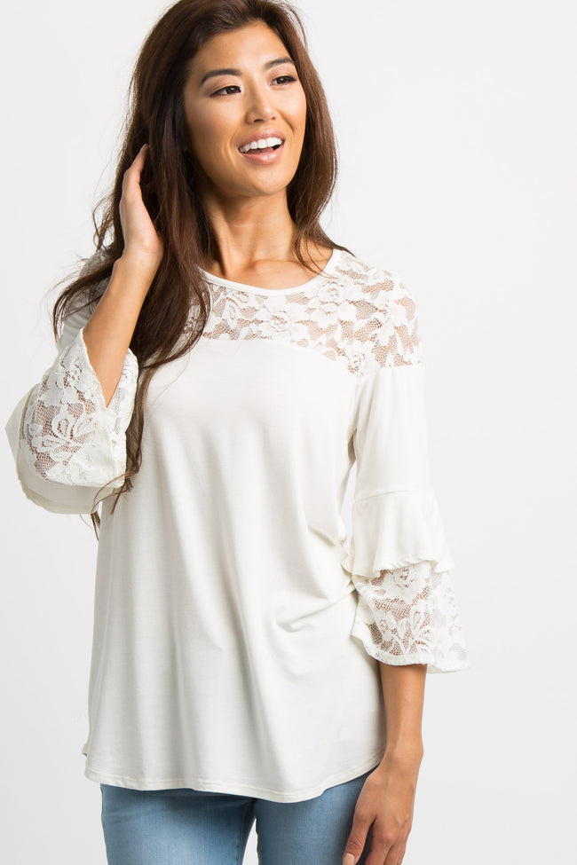 Ivory Solid Lace Accent Bell Sleeve Top