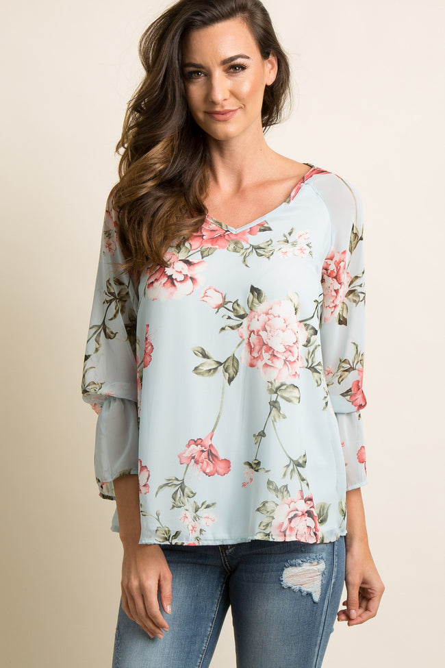 PinkBlush Maternity Floral Chiffon Long Sleeve Blouse