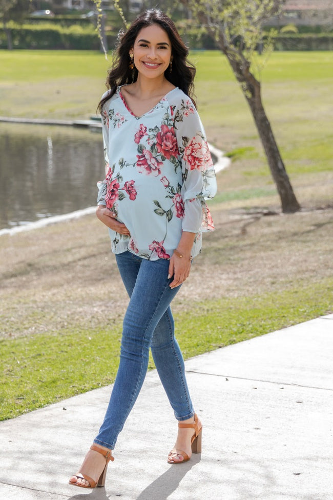 Light Blue Floral Chiffon Long Sleeve Maternity Blouse