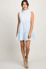 Blue Ruffle Trim Mock Neck Sleeveless Tiered Dress