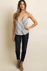 White Printed Draped Wrap Front Cami Top