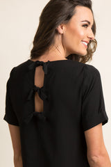 Black Chiffon Cutout Back Tie Accent Top