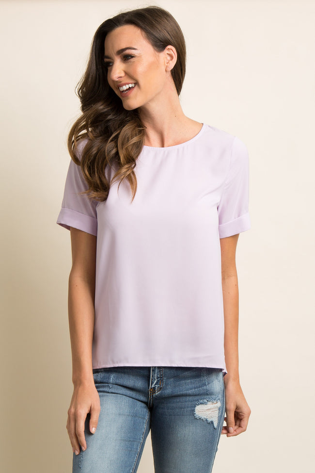 Lavender Chiffon Cutout Back Tie Accent Top