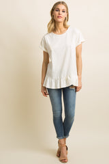 White Solid Cuffed Ruffle Trim Top