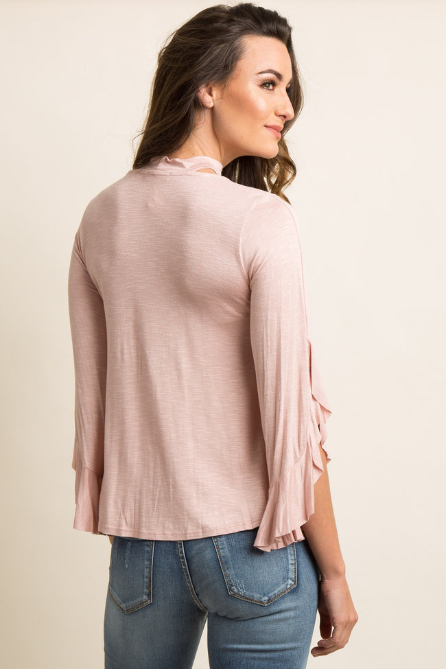 Light Pink Cutout Mock Neck Ruffle Sleeve Top