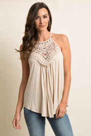 Beige Crochet Accent Halter Cami Top