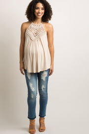 Beige Crochet Accent Halter Maternity Cami Top