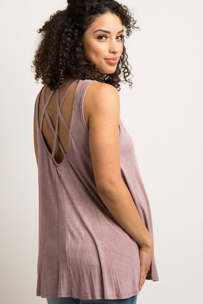 Mauve Faded Cutout Caged Back Maternity Top