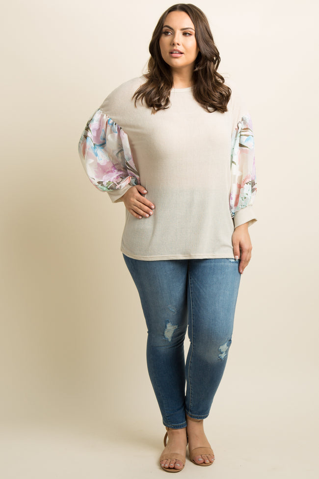 Beige Floral Chiffon Puff Sleeve Knit Plus Top