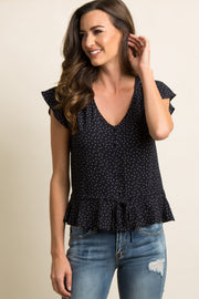 Navy Blue Printed Button Tie Front Ruffled Top