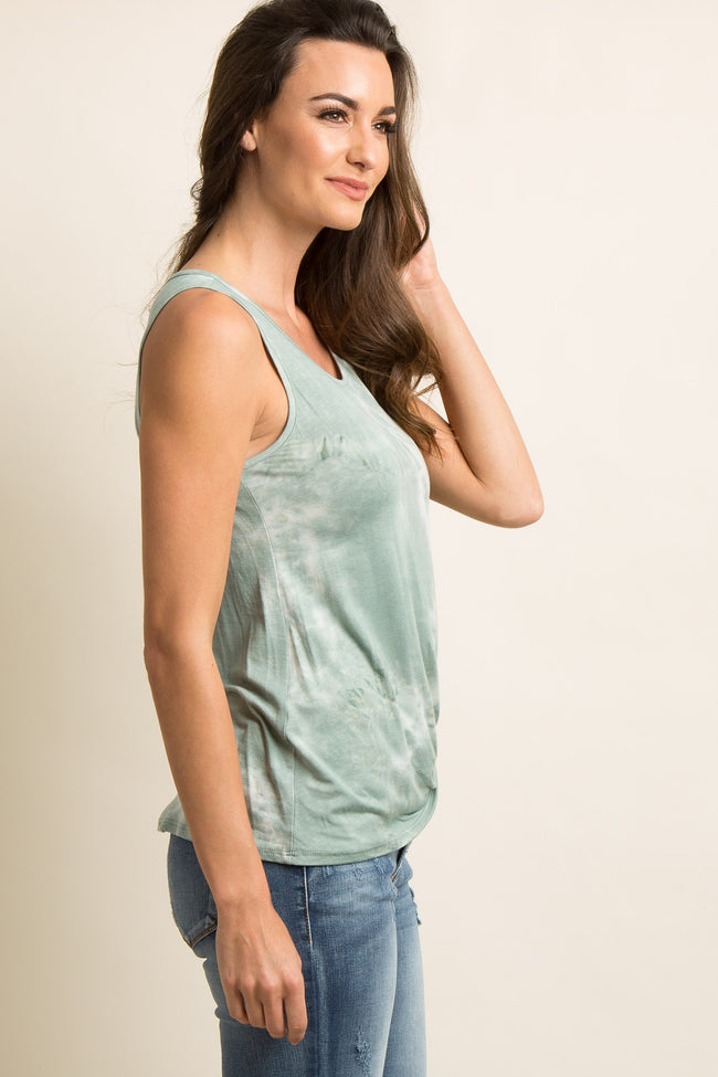 Mint Green Mineral Wash Knot Top