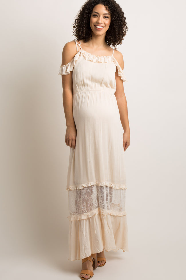 Cream Lace Panel Open Shoulder Maternity Maxi Dress