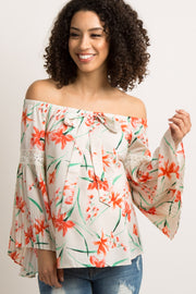 White Floral Pleated Bell Sleeve Maternity Top