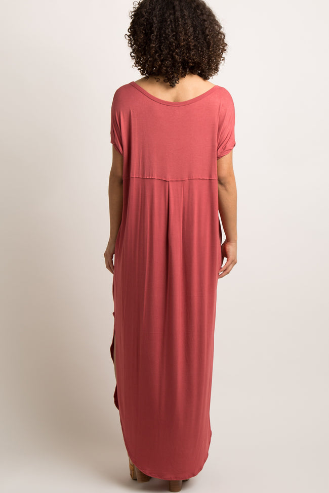 Rust Solid Side Slit Dolman Maternity Maxi Dress