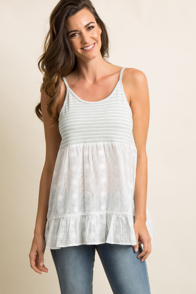 Mint Green Striped Peplum Crochet Cami Top