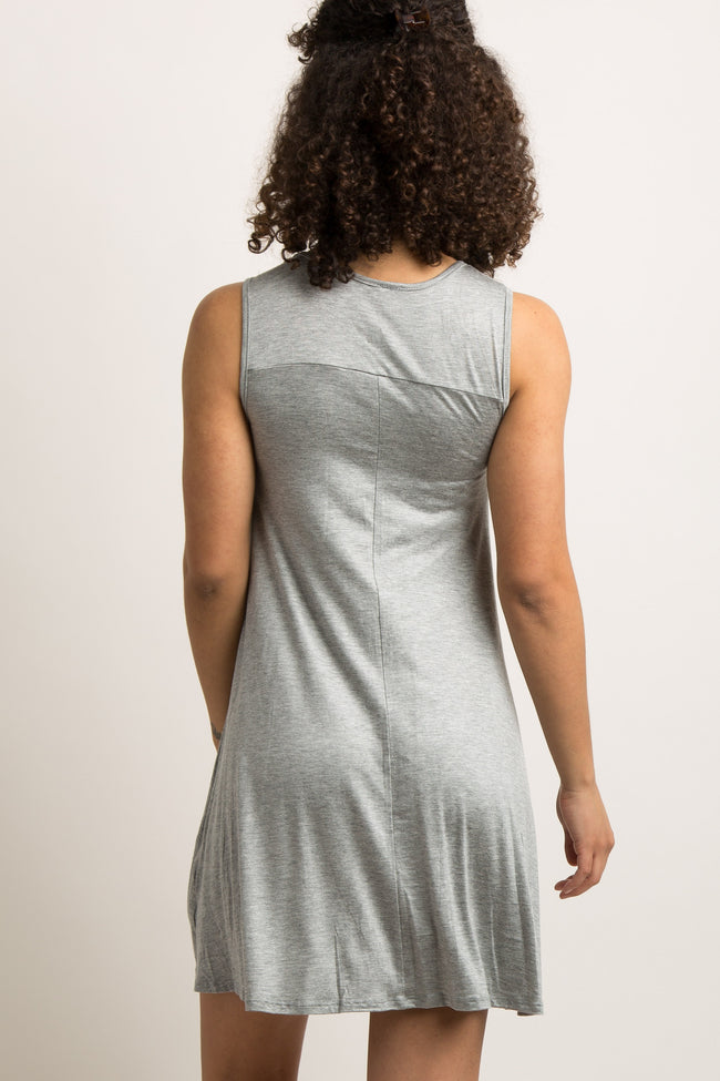"Grey ""Mama Bear"" Graphic Maternity Sleep Dress"