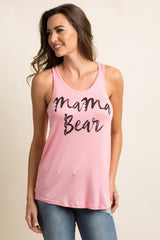 "Pink ""Mama Bear"" Graphic Maternity Tank Top"