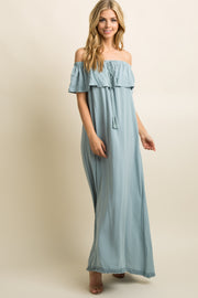 Blue Fringe Trim Tassel Tie Off Shoulder Maxi Dress