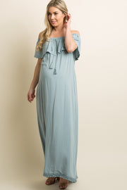 Blue Fringe Trim Tassel Tie Off Shoulder Maternity Maxi Dress