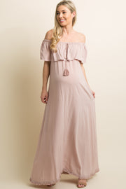 Mauve Fringe Trim Tassel Tie Off Shoulder Maternity Maxi Dress