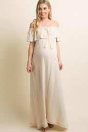 Beige Fringe Trim Tassel Tie Off Shoulder Maternity Maxi Dress