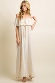 Ivory Fringe Trim Tassel Tie Off Shoulder Maxi Dress