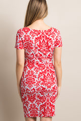 PinkBlush Tall Red Damask Print Fitted Maternity Dress