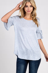 Light Blue Sleeve Tie Maternity Top