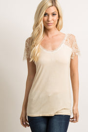 Beige Short Sleeve Lace Accent Top