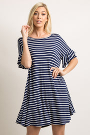 Navy Striped Layered Flounce Sleeve Swing Dress