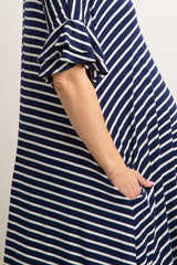 Navy Striped Layered Flounce Sleeve Maternity Swing Dress