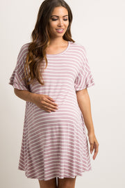 Lavender Striped Layered Flounce Sleeve Maternity Swing Dress